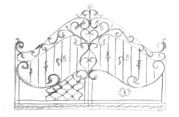 Disegno cancello in ferro battuto