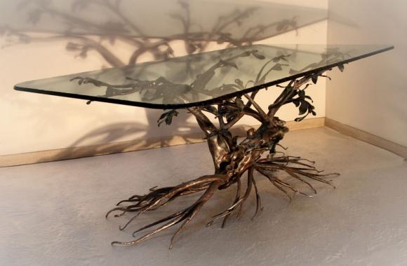 Tavolo in ferro battuto decorazione ad albero - Tavolo con radice ...