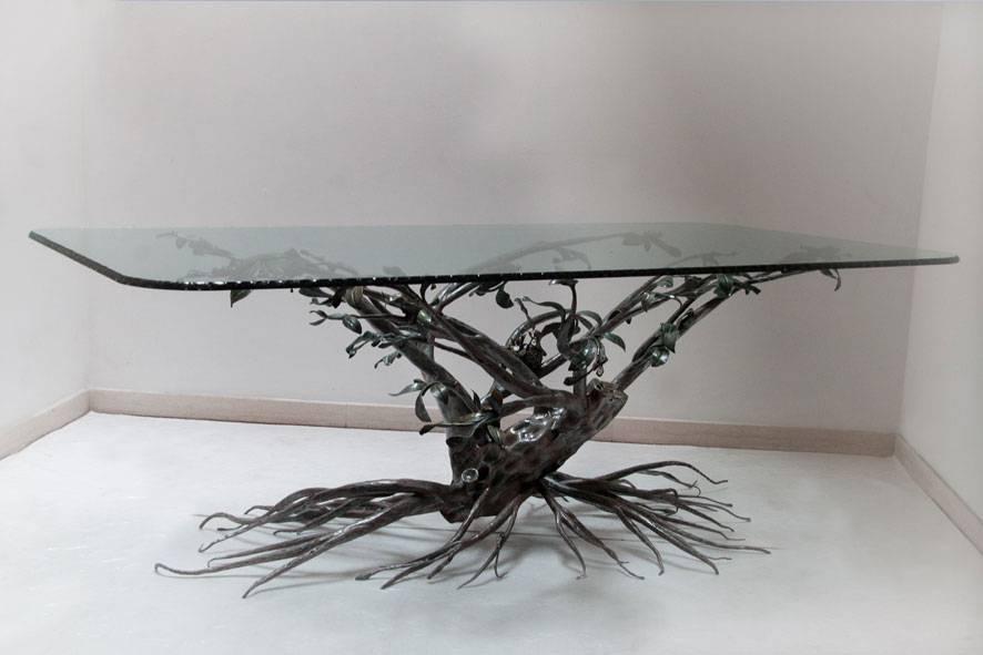 Tavolo in ferro battuto decorazione ad albero