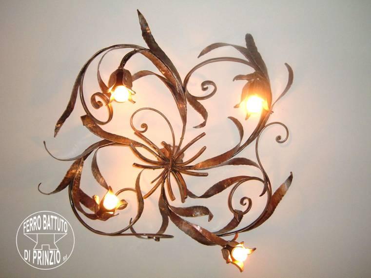 Plafoniera Ferro Battuto Nero : Produciamo lampadari applique lampade plafoniere lume e in ferro