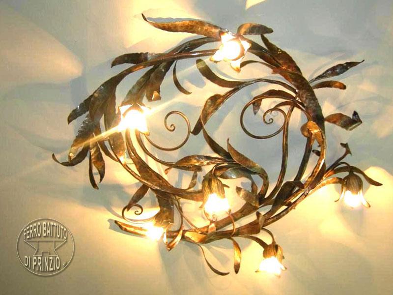 Plafoniere Con Ferro Battuto : Lampadario ferro battuto con fiori vintage a